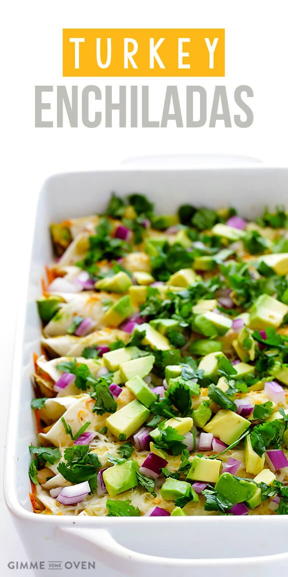 Turkey Enchiladas | gimmesomeoven.com #thanksgiving