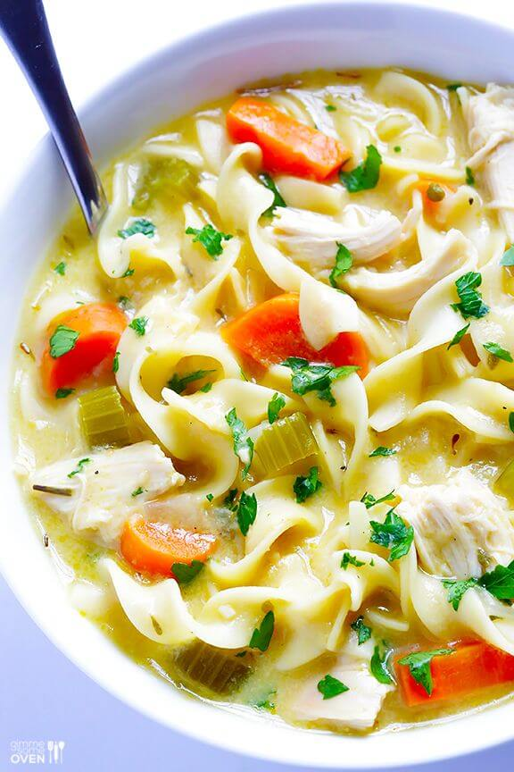 (Skinny!) Creamy Chicken Noodle Soup | gimmesomeoven.com