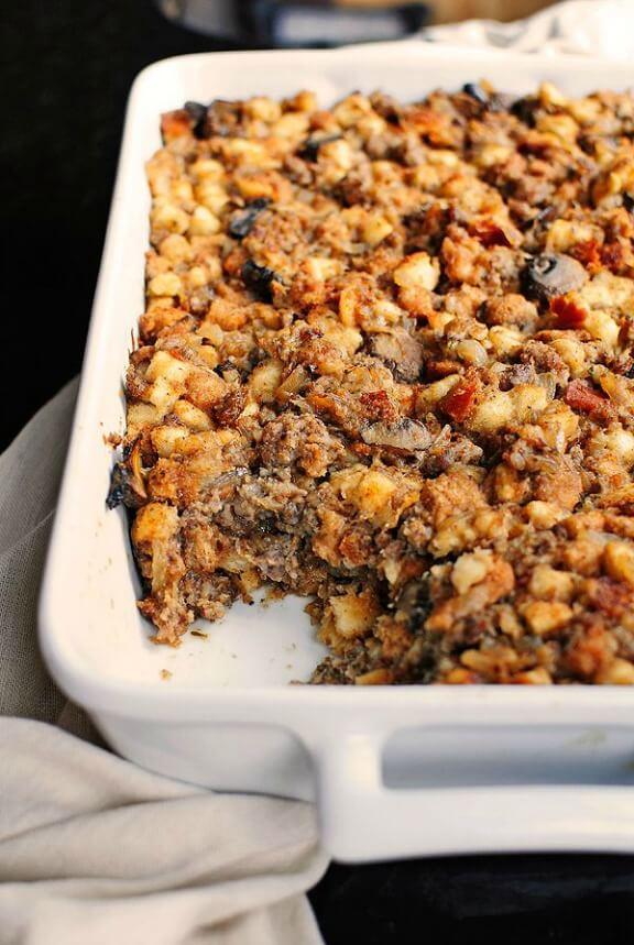 Sausage and Mushroom Stuffing | shewearsmanyhats.com