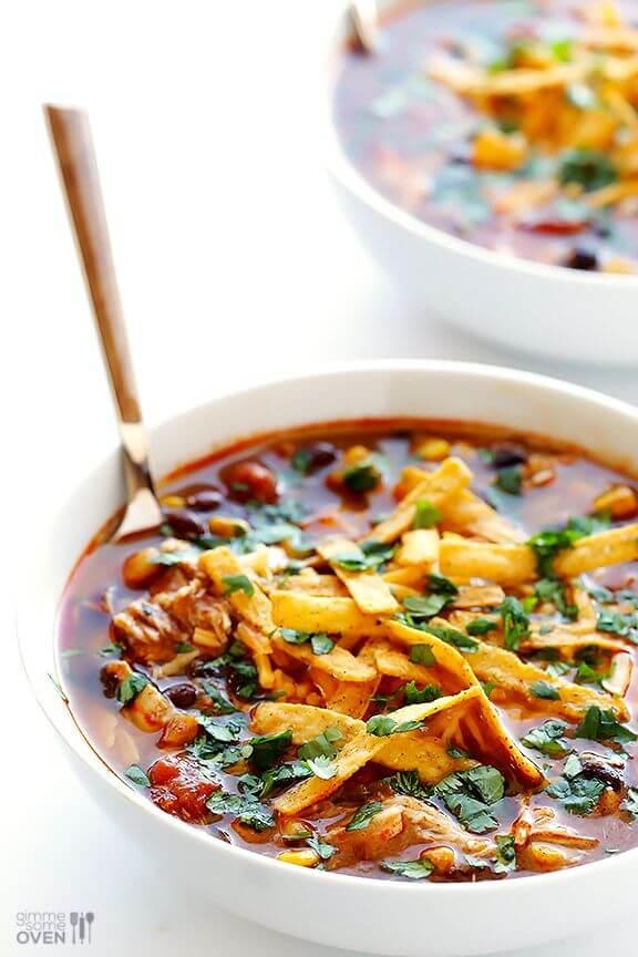 Slow Cooker Chicken Enchilada Soup   gimmesomeoven.com
