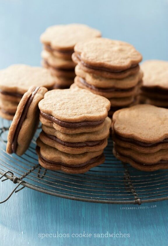 Speculoos Cookie Sandwiches   loveandoliveoil.com