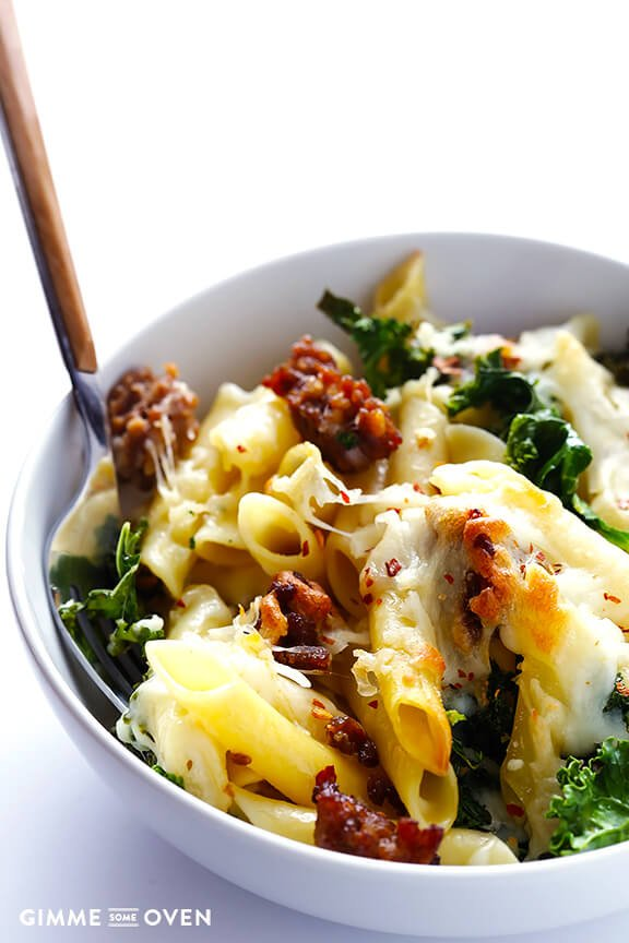 5-Ingredient Italian Sausage and Kale Baked Ziti   gimmesomeoven.com