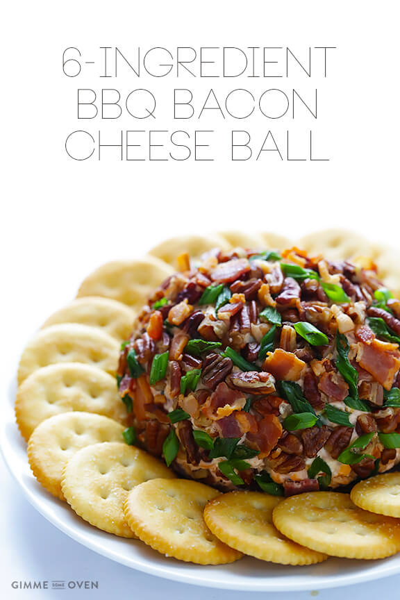 BBQ Bacon Cheese Ball -- all you need are 6 simple ingredients to make this sweet and savory cheese ball appetizer   gimmesomeoven.com