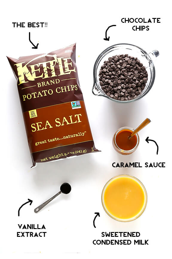 5-Ingredient Kettle Chip Caramel Chocolate Fudge -- all you need are 10 mins to prep this delicious sweet and salty treat! | gimmesomeoven.com