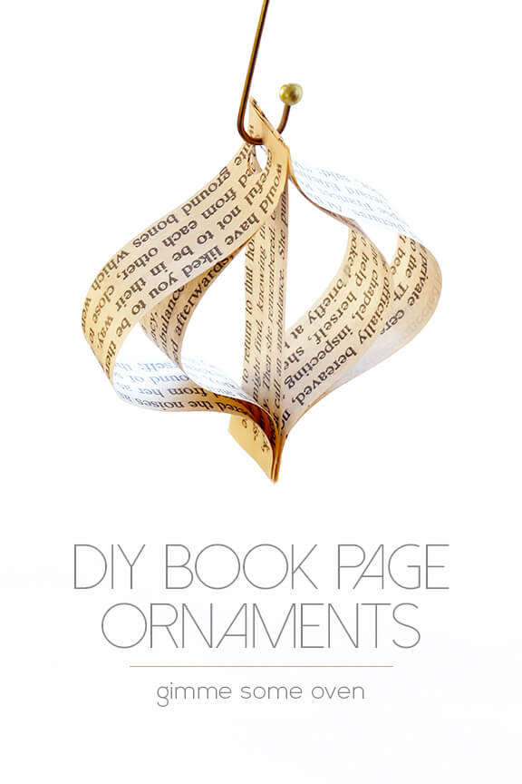 DIY (Easy!) Book Page Ornaments -- a step-by-step tutorial for cute ornaments that can be made in minutes! | gimmesomeoven.com #christmas