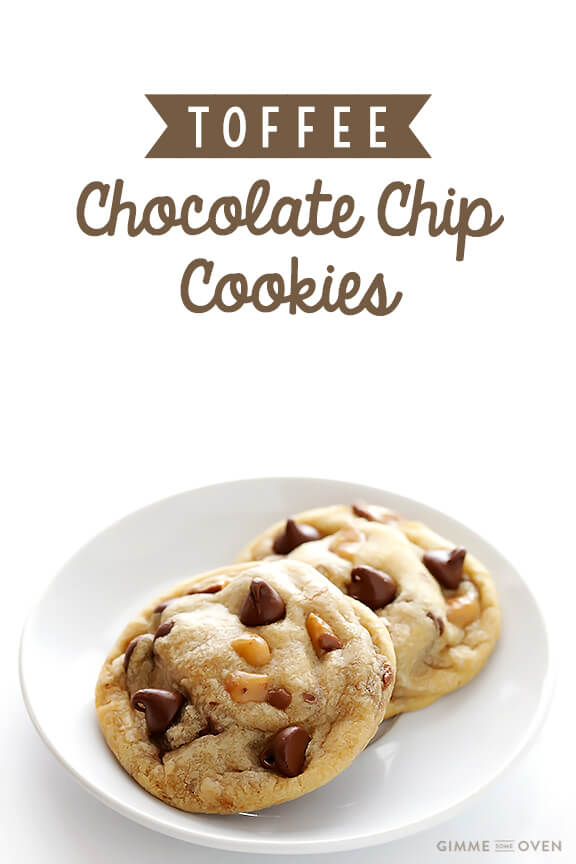 Toffee Chocolate Chip Cookies Recipe   gimmesomeoven.com