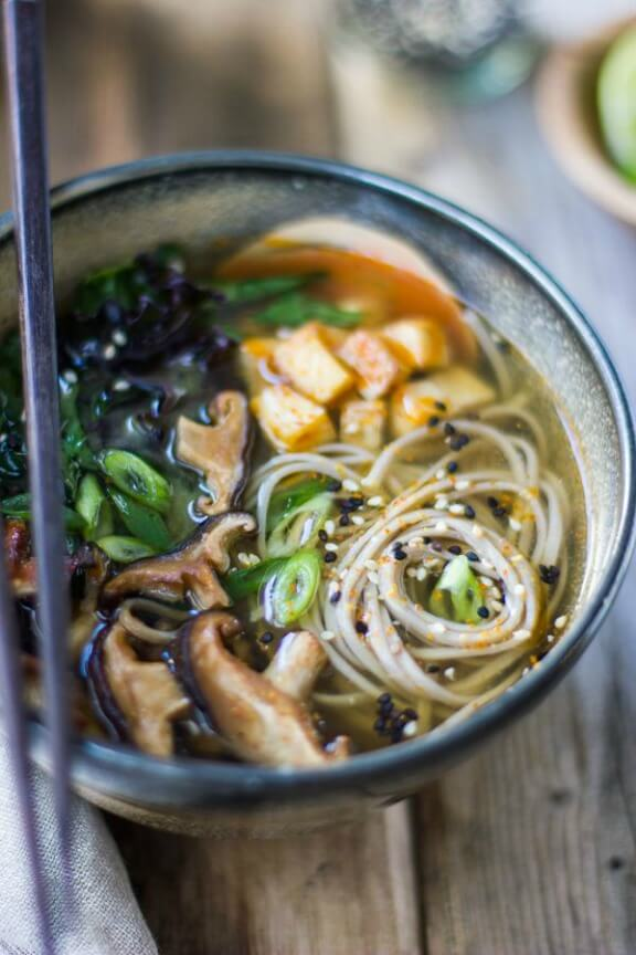 Miso and Soba Noodle Soup with Roasted Sriracha Tofu and Shiitake Mushrooms | bojongourmet.com