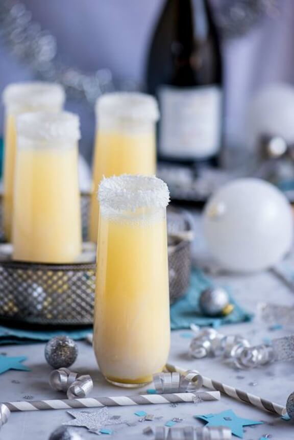 Pineapple Coconut Champagne Cocktail | Pineapple & Coconut