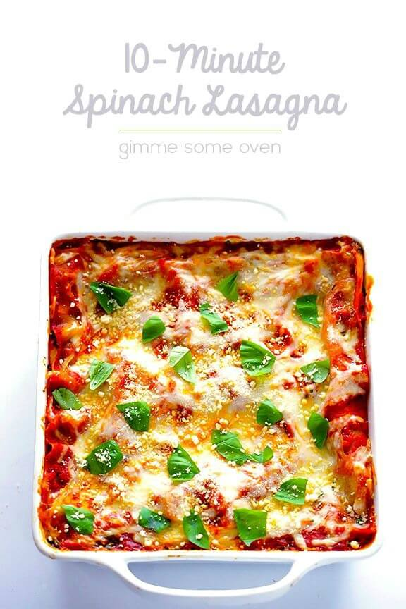 10-Minute Spinach Lasagna | gimmesomeoven.com