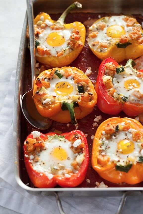 Baked Eggs in Stuffed Peppers with Sweet Potato Hash | foodiecrush.com