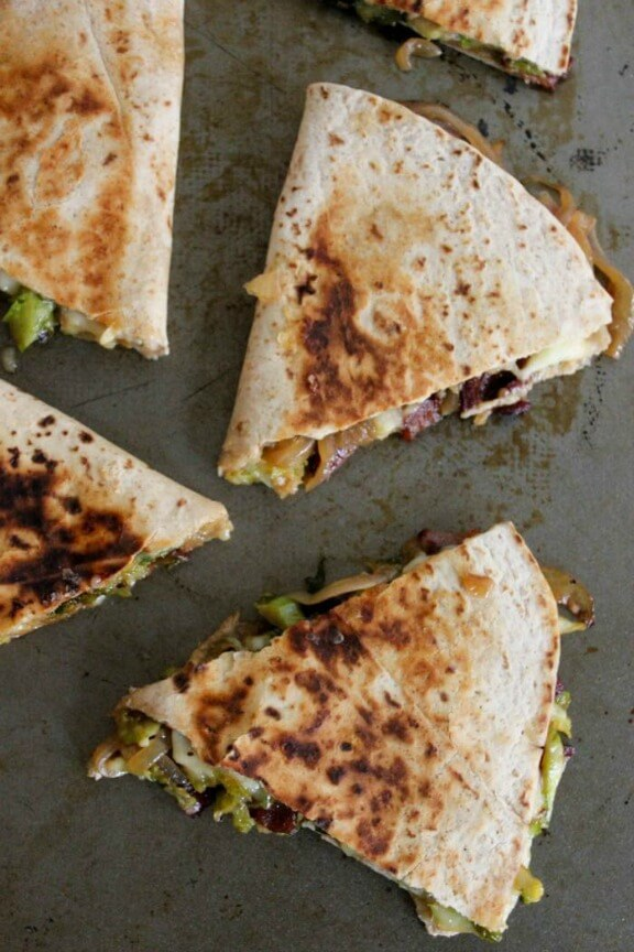 Brie Quesadillas with Brussels Sprouts, Bacon and Beer-Glazed Onions ...