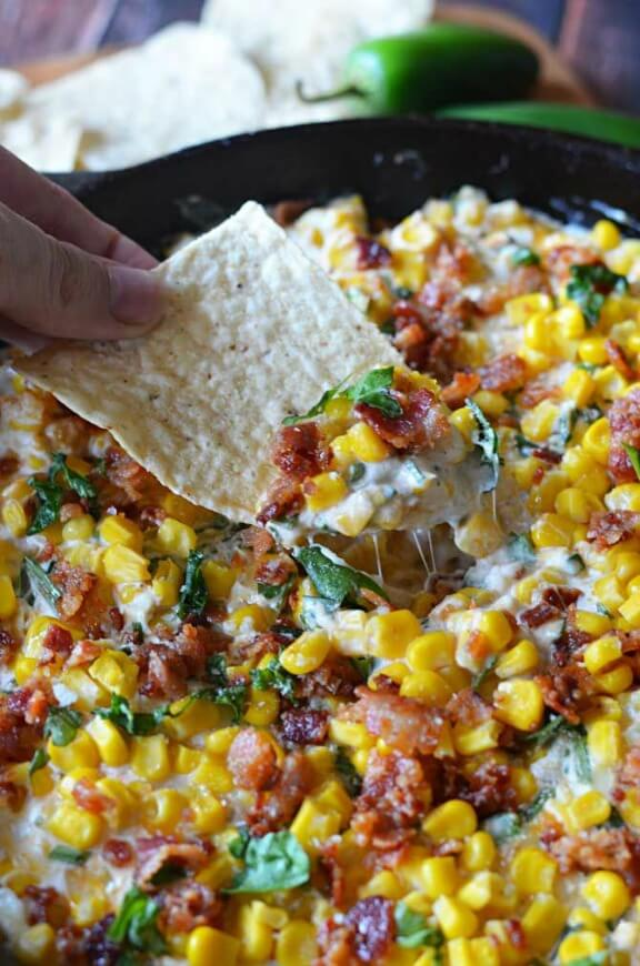 Cheesy Bacon Jalapeno Corn Dip | hostthetoast.com