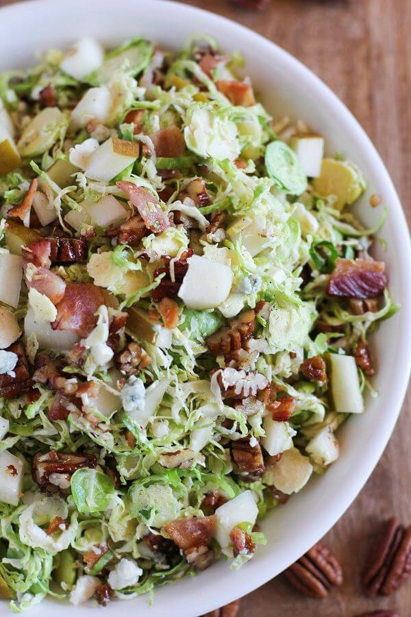 Brussel Sprout Chopped Salad with Warm Bacon Vinaigrette | theroastedroot.net