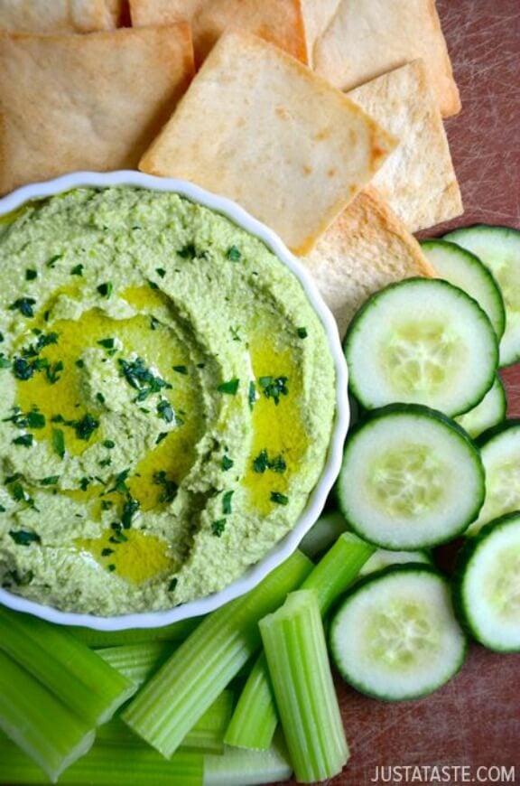 Creamy Edamame and Pea Hummus | justataste.com