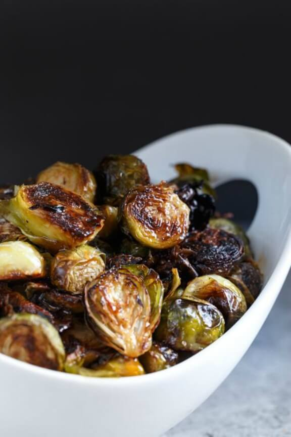 Honey Sriracha Roasted Brussels Sprouts | sharedappetite.com