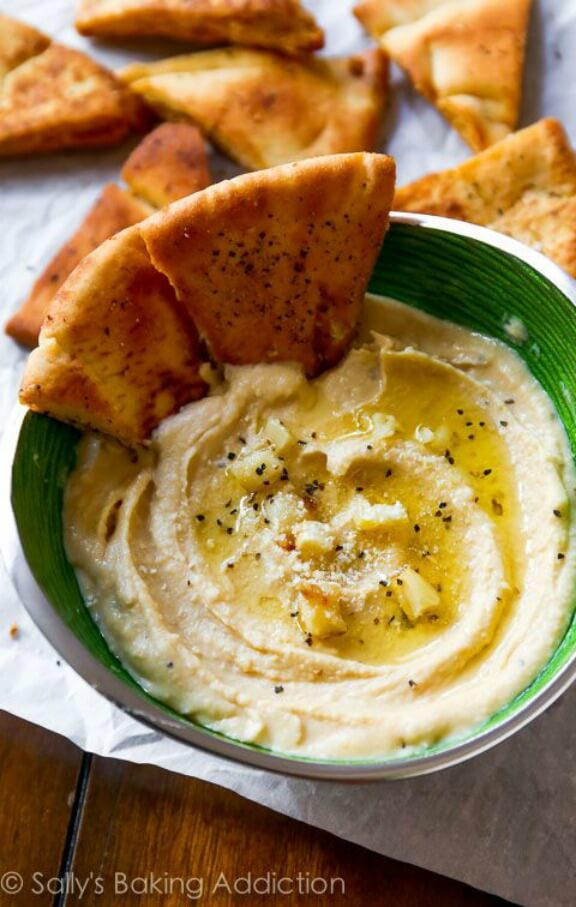 Seriously Smooth Roasted Garlic Parmesan Hummus | sallysbakingaddiction.com