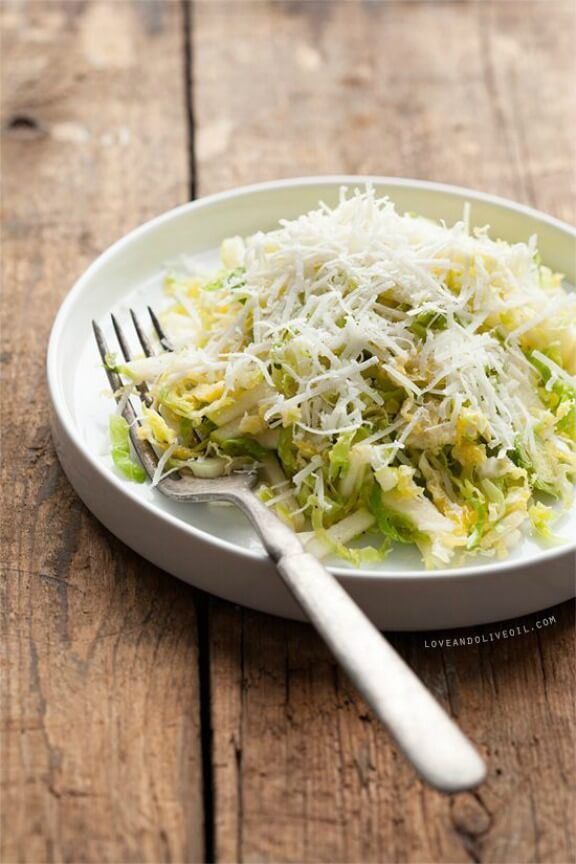 Shaved Brussels Sprouts Salad | loveandoliveoil.com