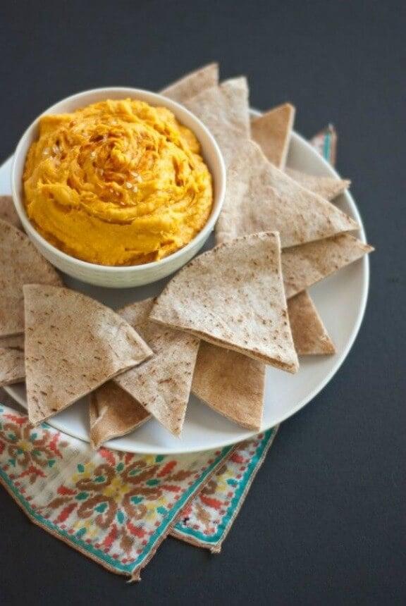 Spicy Sweet Potato Hummus   cookieandkate.com