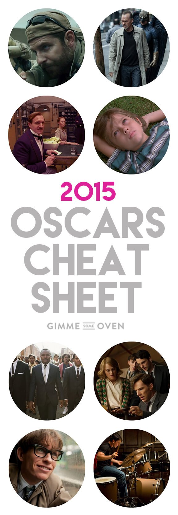 2015 Oscars Cheat Sheet -- fun facts and conversation starters for the Academy Awards | gimmesomeoven.com