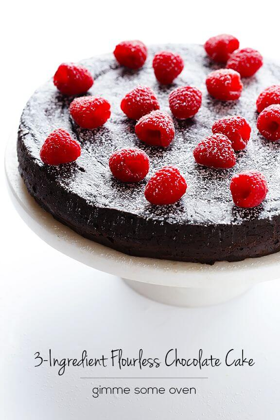 3-Ingredient Flourless Chocolate Cake | gimmesomeoven.com