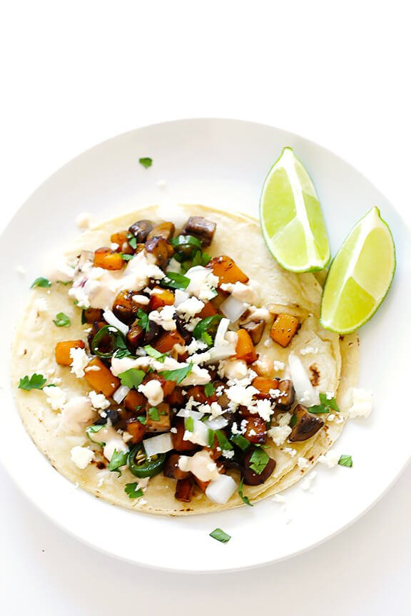 Butternut Squash and Mushroom Tacos Recipe | gimmesomeoven.com #glutenfree