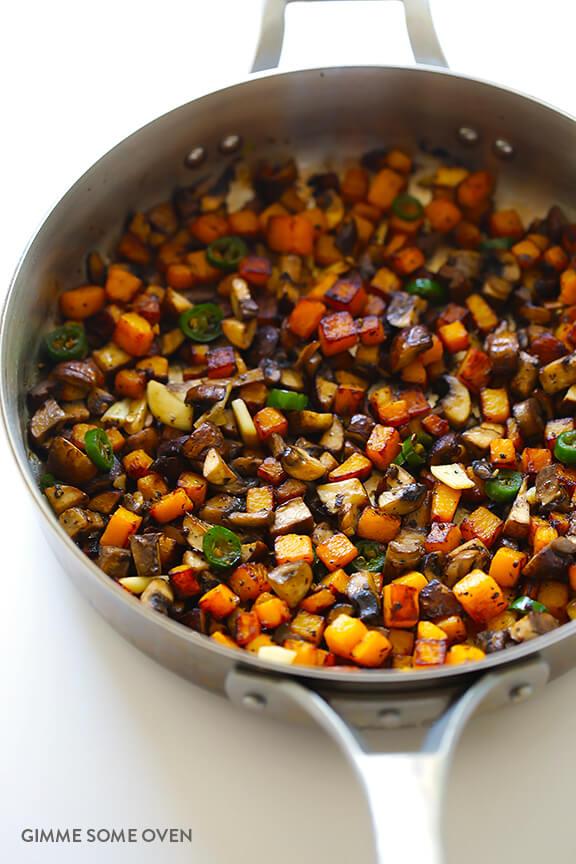 Butternut Squash and Mushroom Tacos Recipe | gimmesomeoven.com #glutenfree