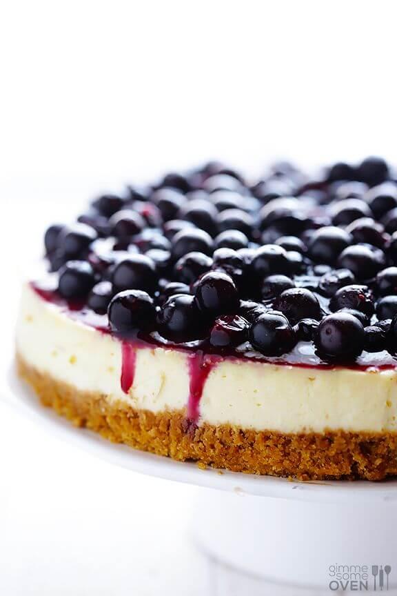 Lighter Blueberry Cheesecake | gimmesomeoven.com