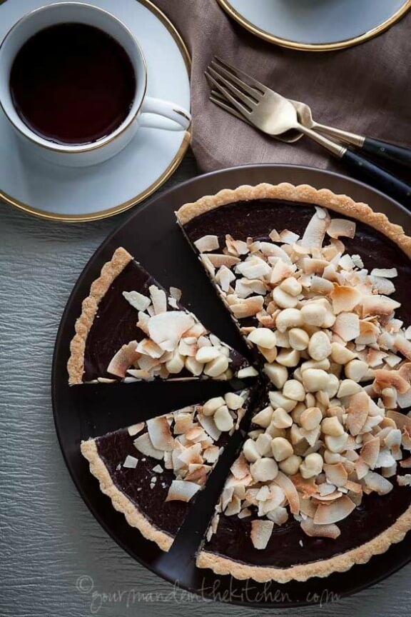 Chocolate, Coconut, Macadamia Nut Tart | gourmandeinthekitchen.com