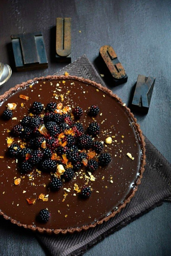 Dark Chocolate Tart with Blackberries and Hazelnut Praline | fromthekitchen.co.nz