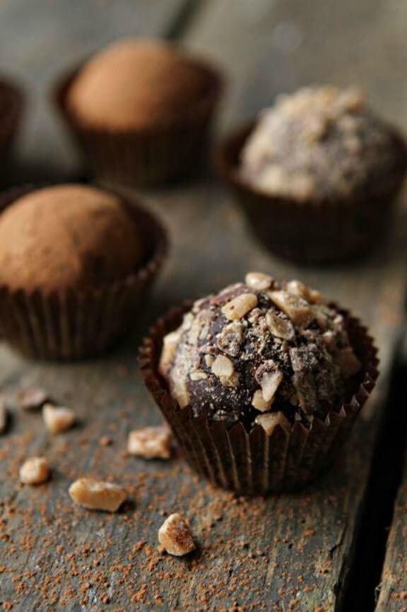 Dark Chocolate Toffee Truffles   mybakingaddiction.com
