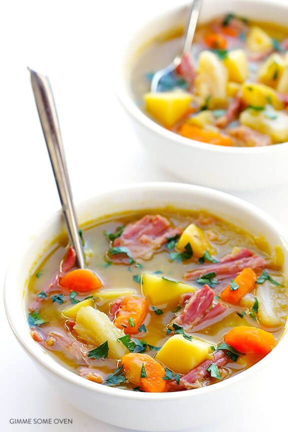 Slow Cooker Corned Beef & Cabbage Soup | gimmesomeoven.com