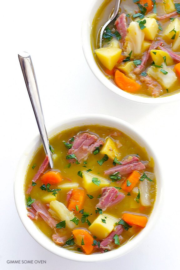 Slow Cooker Corned Beef and Cabbage Soup Recipe | gimmesomeoven.com