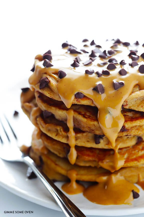Whole Wheat Pumpkin Chocolate Chip Pancakes