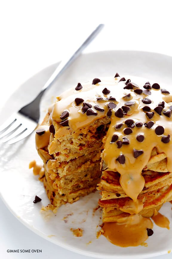 Whole Wheat Peanut Butter Chocolate Chip Pancakes   gimmesomeoven.com
