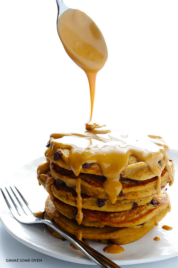 Whole Wheat Peanut Butter Chocolate Chip Pancakes | gimmesomeoven.com