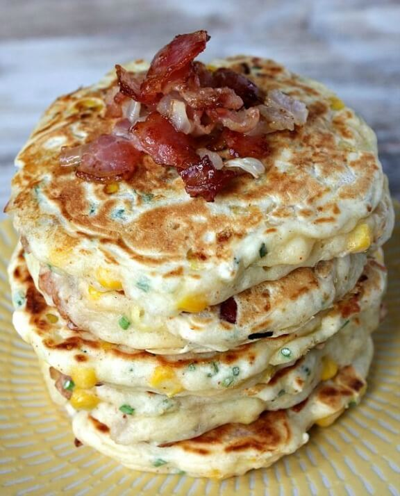 Bacon and Corn Griddle Cakes | recipegirl.com