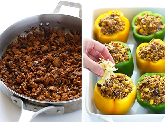 LOVE this 5-Ingredient Vegetarian Stuffed Peppers recipe! It's easy, cheesy, filled with lots of quinoa and black beans, and SO delicious! | gimmesomeoven.com
