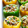 5-Ingredient Mexican Quinoa Stuffed Peppers | gimmesomeoven.com