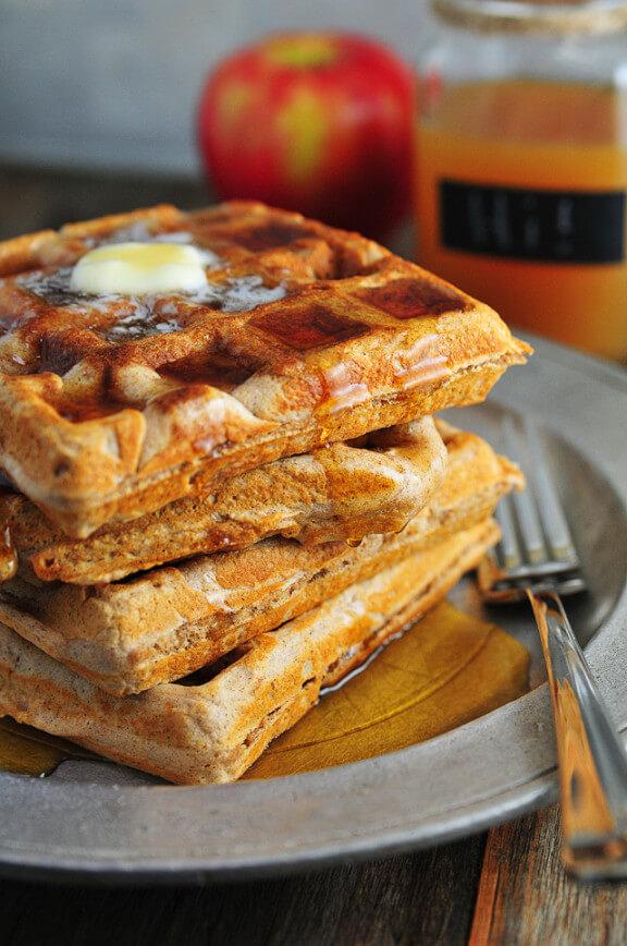 Apple Cider Waffles | addapinch.com