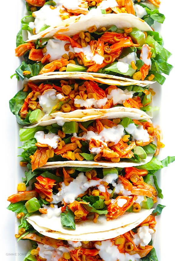 Buffalo Chicken Tacos -- quick and easy to make, and always a crowd favorite!   gimmesomeoven.com