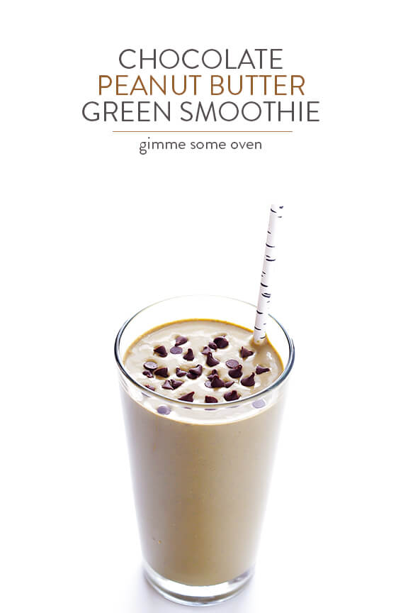 Chocolate Peanut Butter Green Smoothie | gimmesomeoven.com