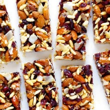 Cranberry Almond Protein Bars | gimmesomeoven.com