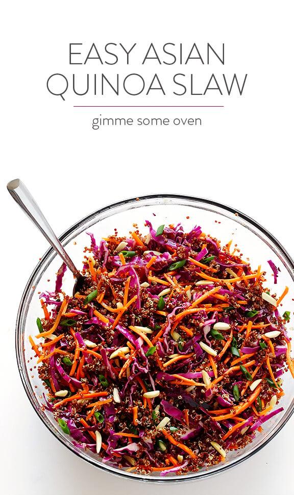 Easy Asian Quinoa Slaw | gimmesomeoven.com