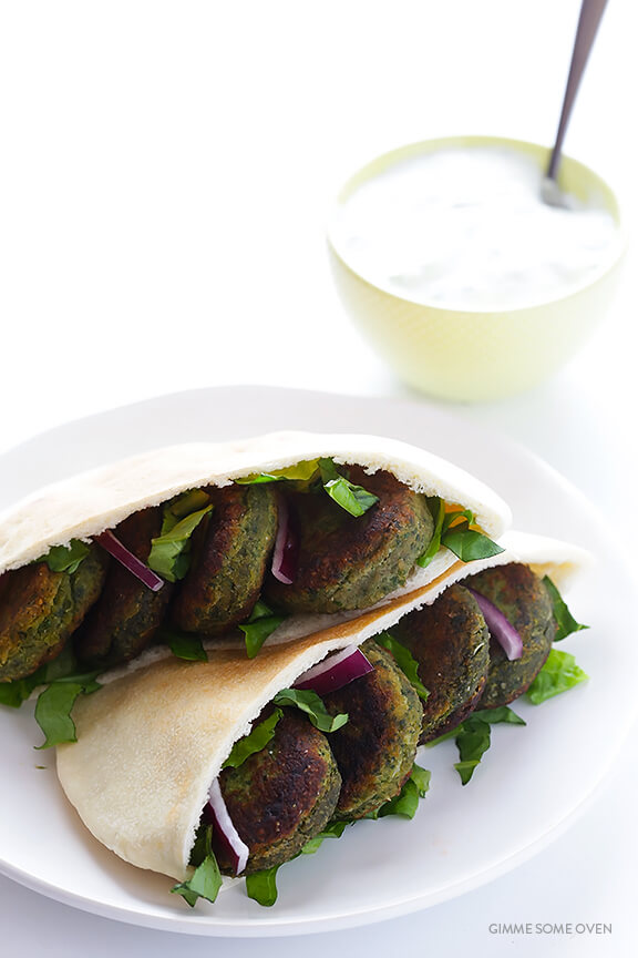 Easy Falafel Sandwich with Pita and Tzatziki
