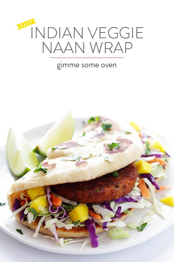 Easy Indian Veggie Naan Wrap | gimmesomeoven.com