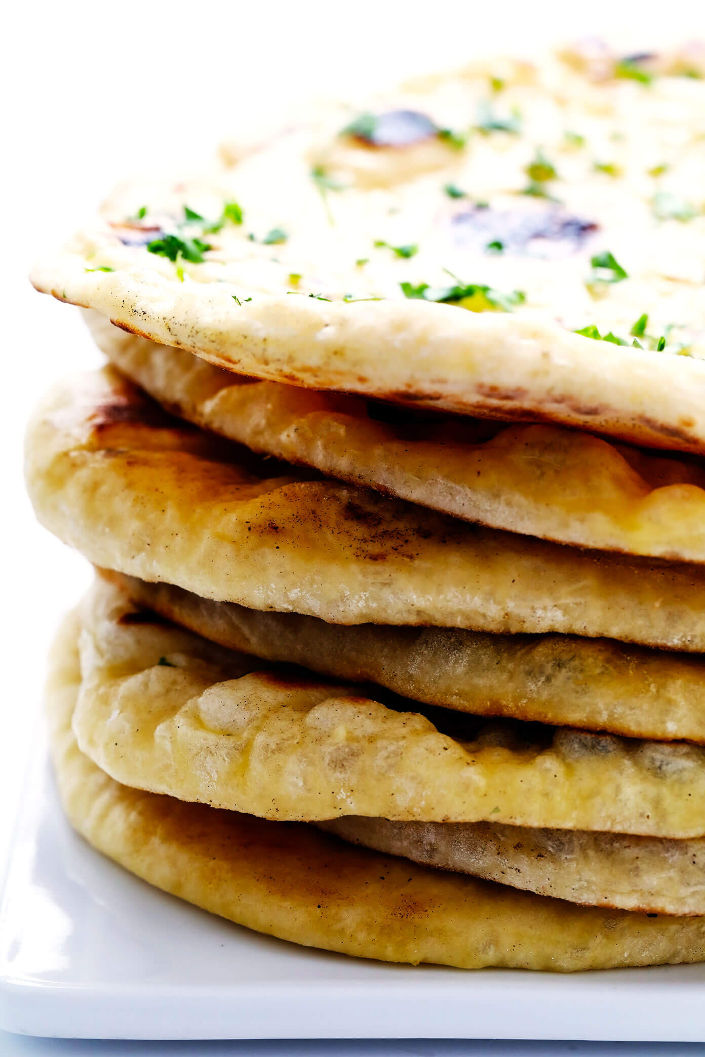 Stack of Homemade Naan Bread