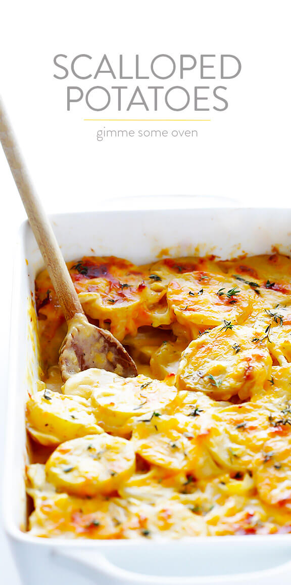 My all-time FAVORITE Scalloped Potatoes recipe! It's easy to make, full of great flavor, and ways a hit with a crowd. Perfect for the holidays! | gimmesomeoven.com