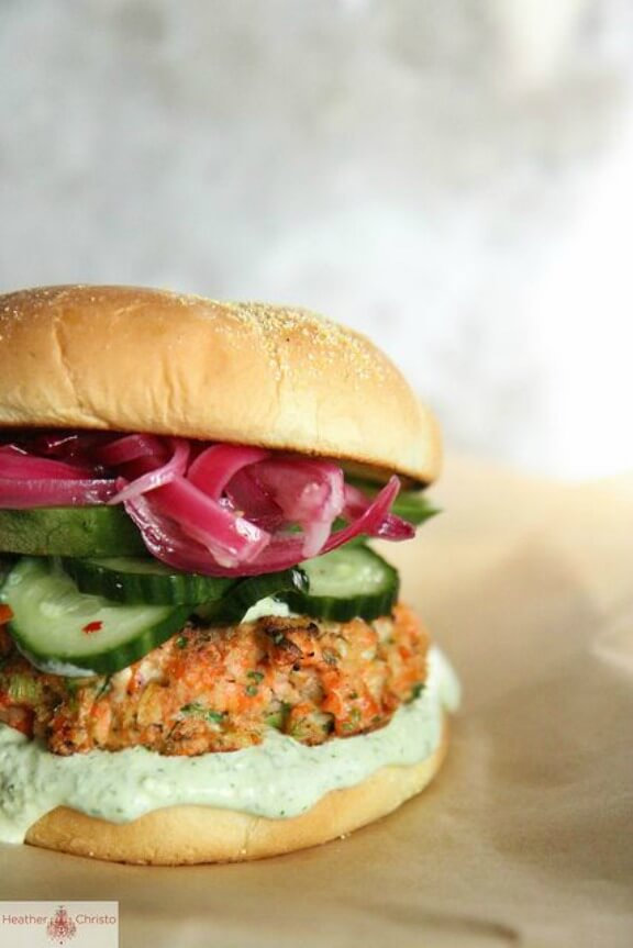 Asian Salmon Burger | heatherchristo.com