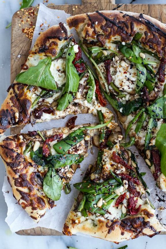 Spring Time Mushroom & Asparagus White Burrata Cheese Pizza with Balsamic Drizzle | halfbakedharvest.com