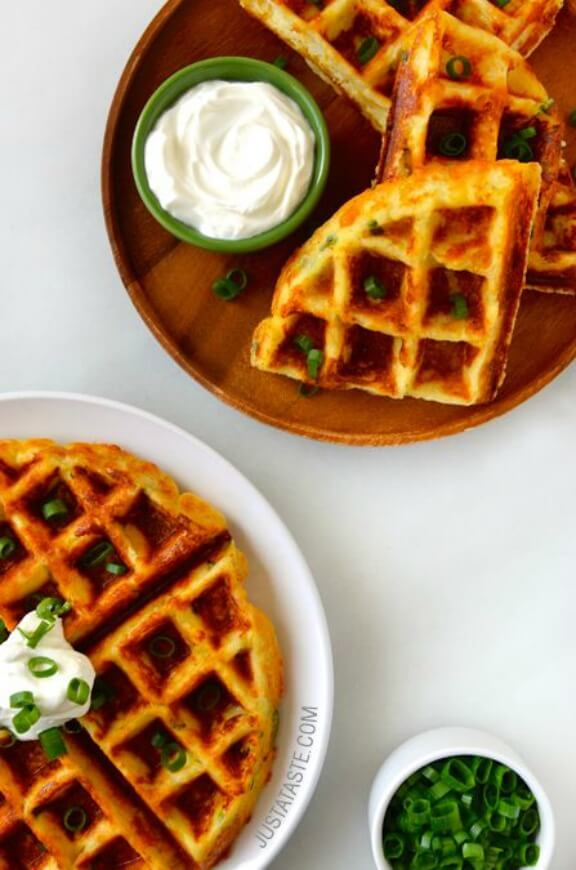 Cheesy Leftover Mashed Potato Waffles | justataste.com